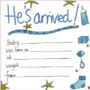 Luxury New Baby Boy Announcement Cards - Pack of 8